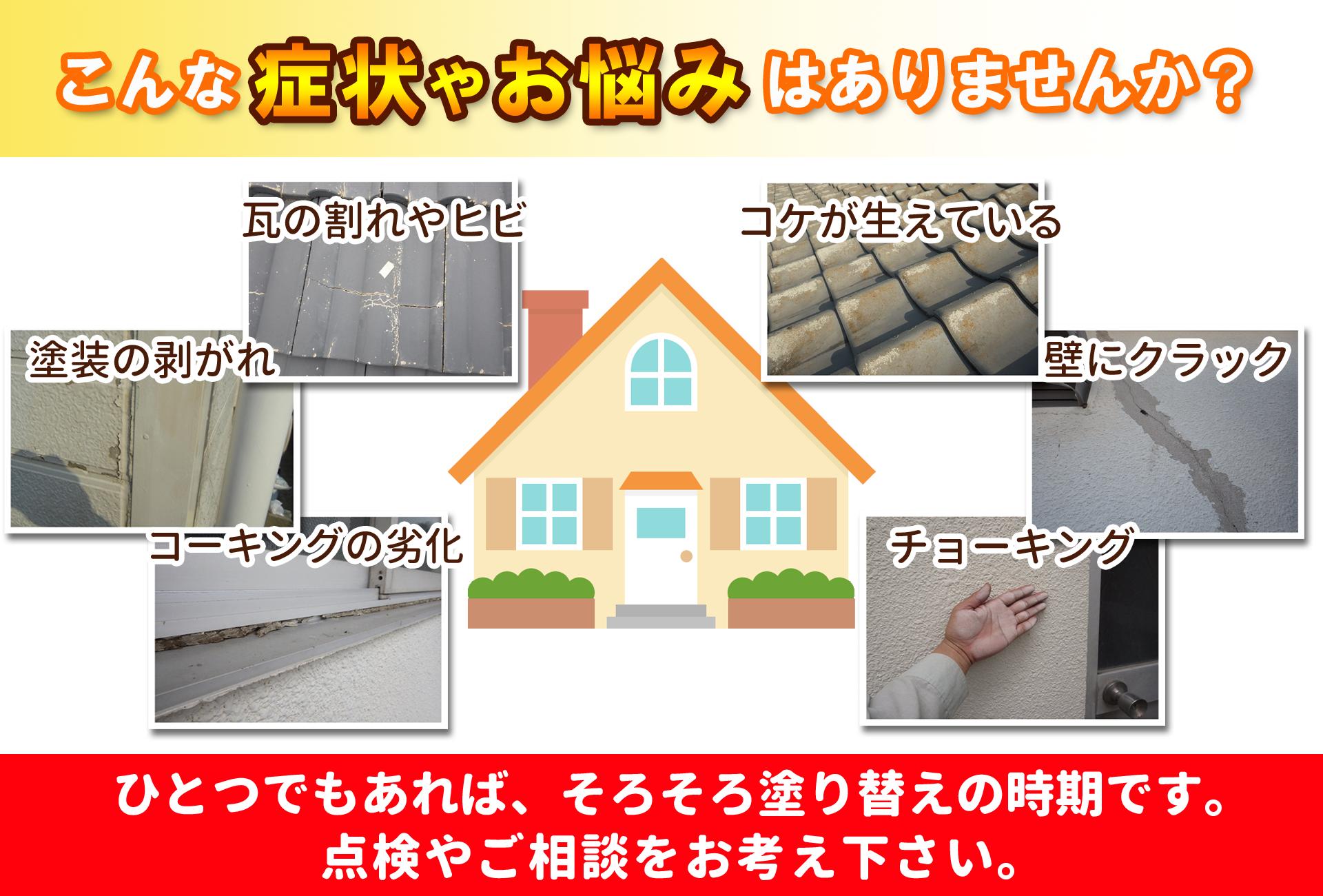 こんな外壁や屋根の症状はありませんか?